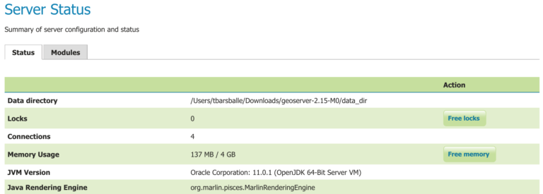 GeoServer Server Status Page